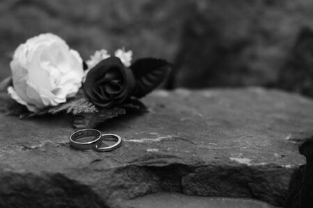 Two Wedding Rings With One Having A Message Of Love Engraved Stock Photo Picture And Royalty Free Image 79823211