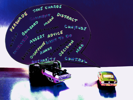 A Speech Bubble with Word Comments of a Backseat Driver Showing the Possible Consequences and Lose of Concentration of a Driver Losing Control.