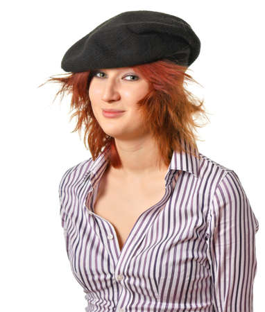 disordered: a young woman with disordered hair in a black hat