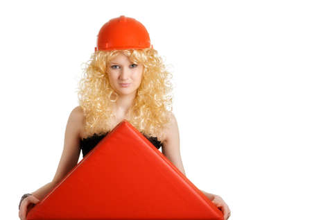 Female-builder with a triangle, symbolizing the roof over head photo