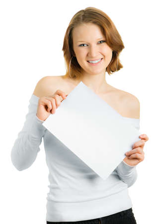 Girl with a white sheet of paper for a slogan Stock Photo - 4567330