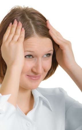 inexperienced: a girl who realized that committed a stupid act Stock Photo