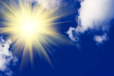 blue sky and bright sun in clear weather