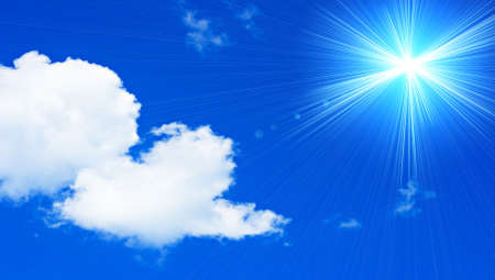 Cloudy skies with a beautiful sun Stock Photo