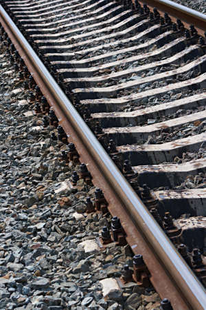 Railroad at noon. Diagonal beautiful background.