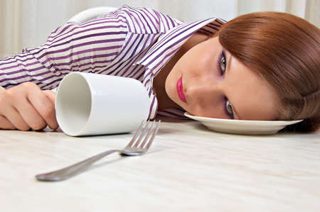 drunk girl: Drunk girl falls asleep, put her head in the plate