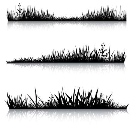 Silhouetten van gras met de reflectie. Illustratie uitgevoerd werd gebruikt als de dummies voor je compositie. Vector Illustratie