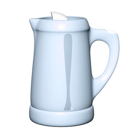 Modern electric blue kettle on white Stock Photo