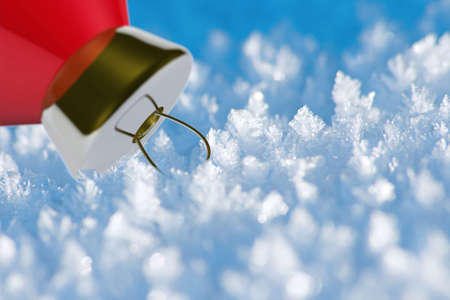 Decorative Christmas ball on the ice. Shallow DOF. Stock Photo - 5814673