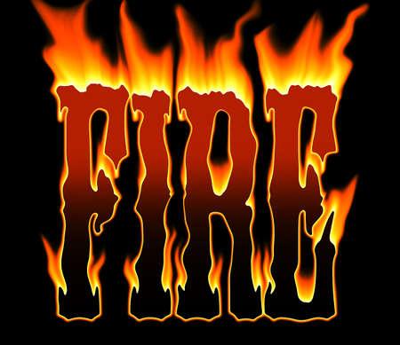 letras negras: palabra el fuego las quemaduras en un incendio caliente