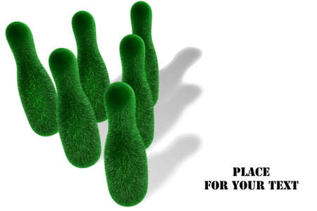 3D illustration depicting pins, covered with grass