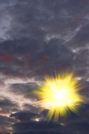 the bright sun broke through the black clouds