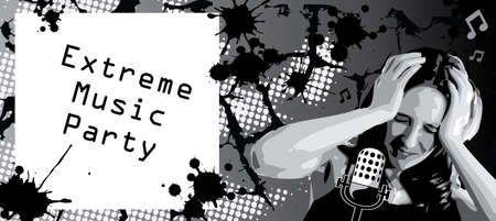 design of the ticket to the extreme music party Vector