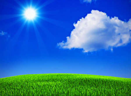 Beautiful landscape with summer blue sky Stock Photo