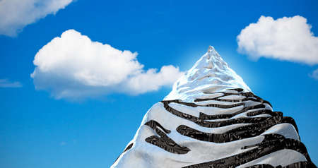 impregnable: High mountain on the background of blue sky