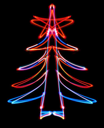 obtained: Abstract Christmas tree obtained with a freezelight photographic style Stock Photo