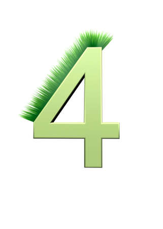 grew: 3D illustration depicting the Arabic numerals, which grew green grass