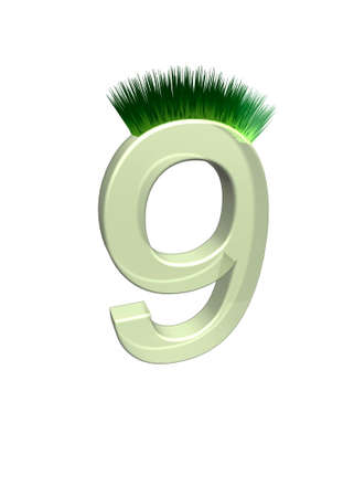 arabic numerals: 3D illustration depicting the Arabic numerals, which grew green grass