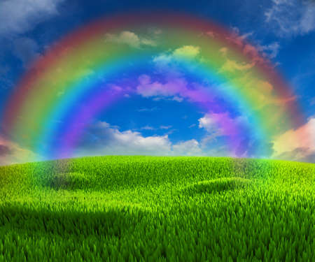 Nice background on the topic of good weather with rainbow Stock Photo