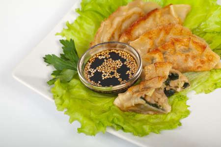 Japanese gyoza with squid on a white plate Stock Photo