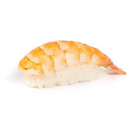 Japanese sushi with a shrimp on a white background Foto de archivo