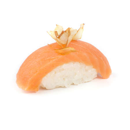 Japanese sushi with salmon smoked meat on a white background