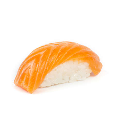 Japanese sushi with salmon on a white background Stock Photo