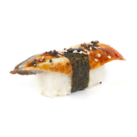 Japanese sushi with smoked eel meat on a white background Stock Photo