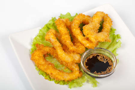 The japanese tempura with squid on a white plate Stock Photo