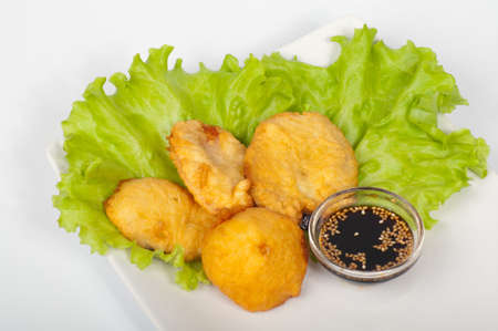 Japanese vegetable tempura on a white plate