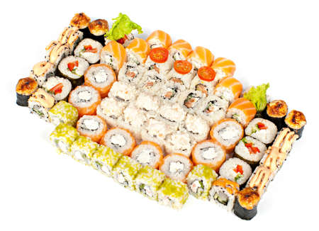 Big sushi set on white background  isolation  Stock Photo