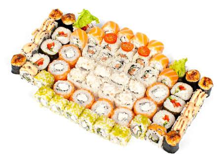 Big sushi set on white background  isolation  Foto de archivo