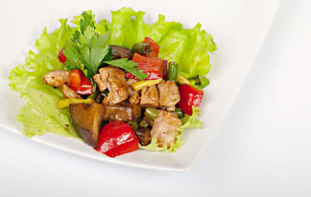 Pork with a  vegetables on the plate  National food