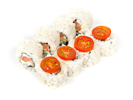 epicure: rolls with salmon and cream on a white background