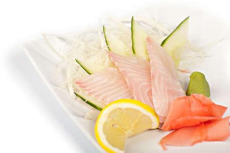 sashimi with the sea perch and the cucumber Foto de archivo