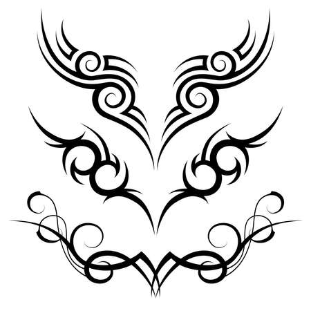 motive: three vector black tribal tattoo motive on white background