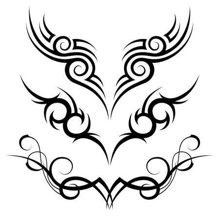dessin tribal: trois vecteurs motif de tatouage tribal noir sur fond blanc