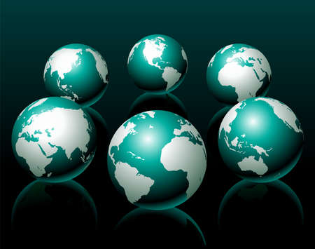 afrika: globe illustration, six variation