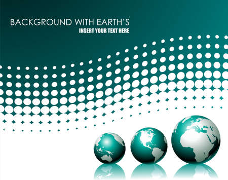 afrika: background with three globe on white background Illustration