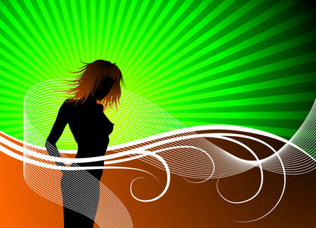 girl silhouette on green background and wave Stock Vector - 7179911