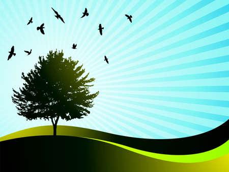 landsape: landsape with tree and birds on blue background Illustration