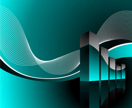 diagram illustration with wave on dark background Vector