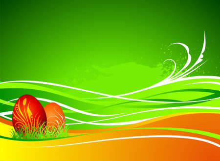orenge:  easter illustration with painted eggs on green and orenge background Illustration