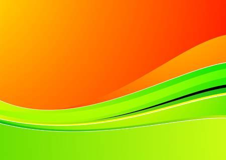 springs: green wave on orange background for design Illustration