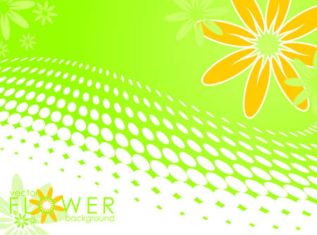 Spring illustration with flower on circle pattern background