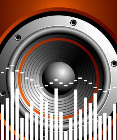 speaker box: ilustraci�n para el tema musical con altavoz  Vectores