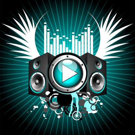 illustrazione vettoriale per tema musicale con tasto play e altoparlanti