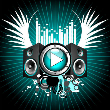 speaker: vector illustration for musical theme with play button and speakers