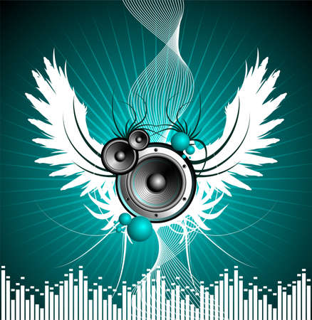 vogelspuren: Vektor-Illustration f�r musikalisches Thema mit Lautsprechern und Fl�gel  Illustration