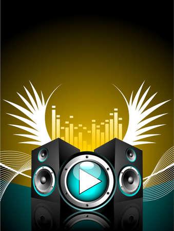 speaker box: ilustraci�n vectorial para tema musical con altavoces y ala